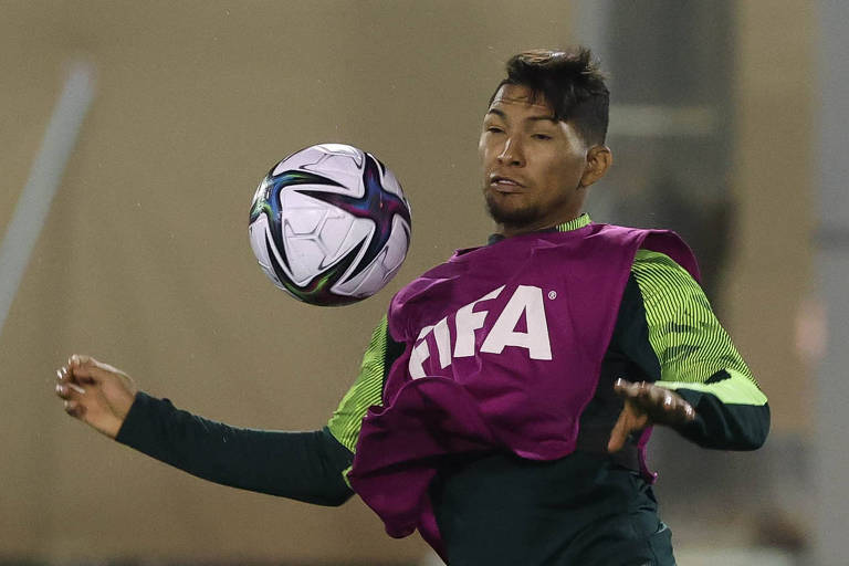 O atacante Rony durante treinamento em Doha, onde o Palmeiras joga hoje por um lugar no pódio do Mundial de Clubes