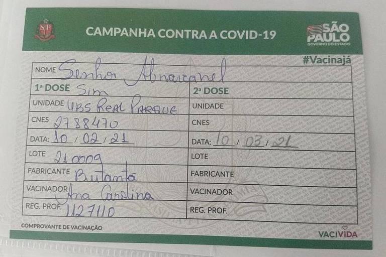 Registro de Vacinação de Silvio Santos contra a Covid