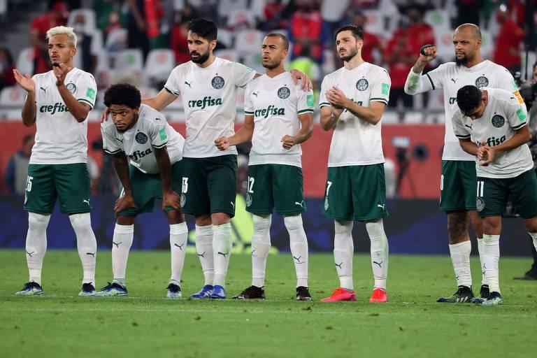 Jogadores do Palmeiras durante a disputa de pênaltis