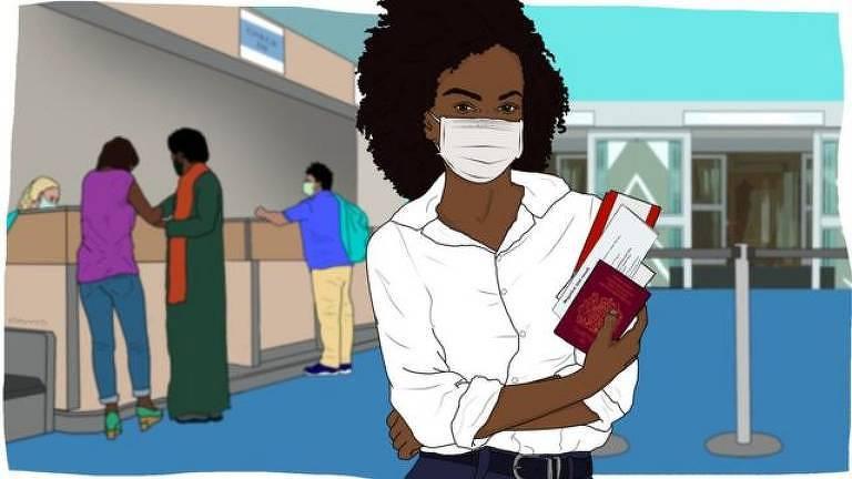 Desenho de mulher negra em aeroporto segurando passaporte