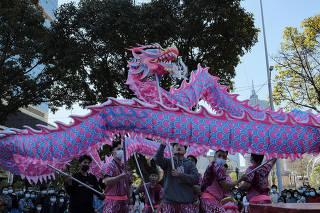Grupo carregando um dragão durante as celebrações do Ano-Novo chinês