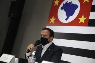 O Governador de São Paulo João Doria durante lançamento do Cartã