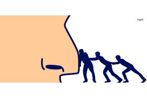 Ilustração para coluna da ombudsman de 14.fev.2021
