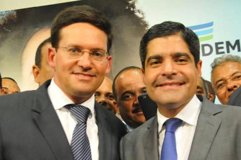 O deputado João Roma e o ex-prefeito ACM Neto, presidente nacional do DEM