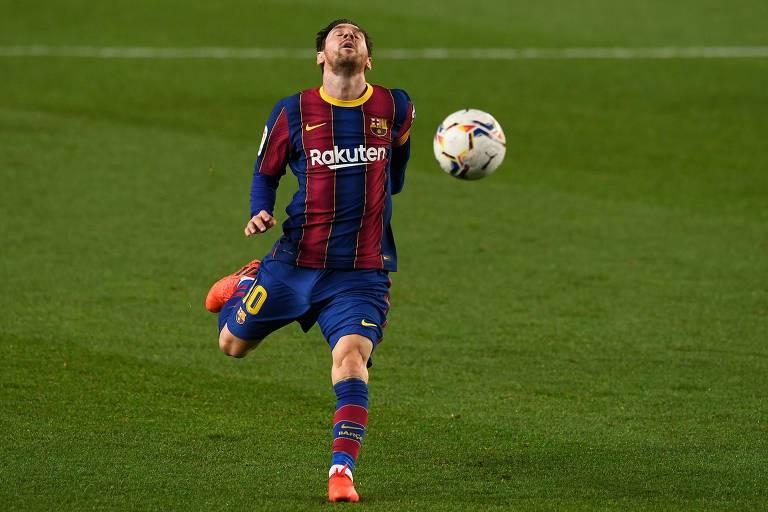 Lionel Messi em jogo do Barcelona na atual temporada, que pode ser sua última no clube