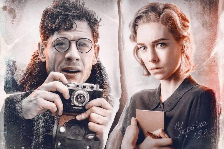 Cartaz com dizeres em ucraniano mostram personagem masculino, de óculos e segurando uma câmera, e personagem feminina abraçando um caderno