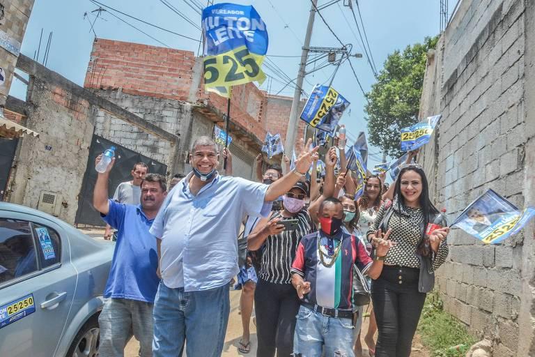 Milton Leite durante campanha eleitoral pela zona sul da cidade de SP