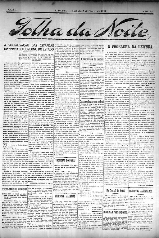 Primeira Página da Folha da Noite de 5 de março de 1921