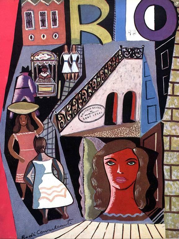 capa revista rio com desenho de pessoas descendo uma rampa e, à direita, o rosto de uma mulher em vermelho