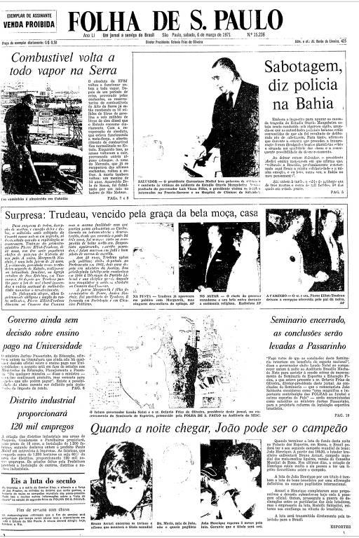 Primeira Página da Folha de 6 de março de 1971