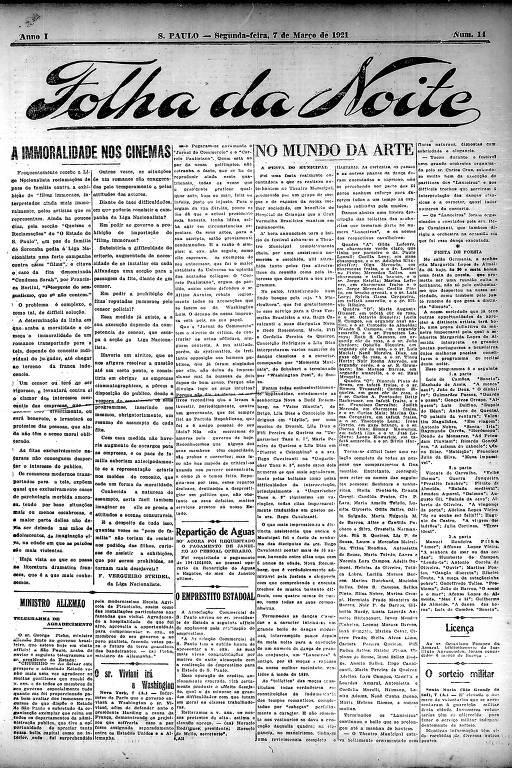 Primeira Página da Folha da Noite de 7 de março de 1921