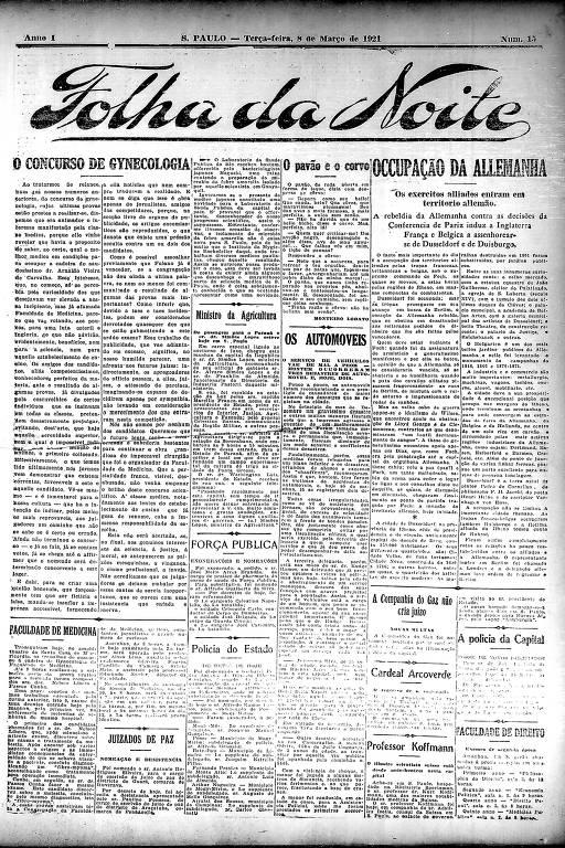 Primeira Página da Folha da Noite de 8 de março de 1921