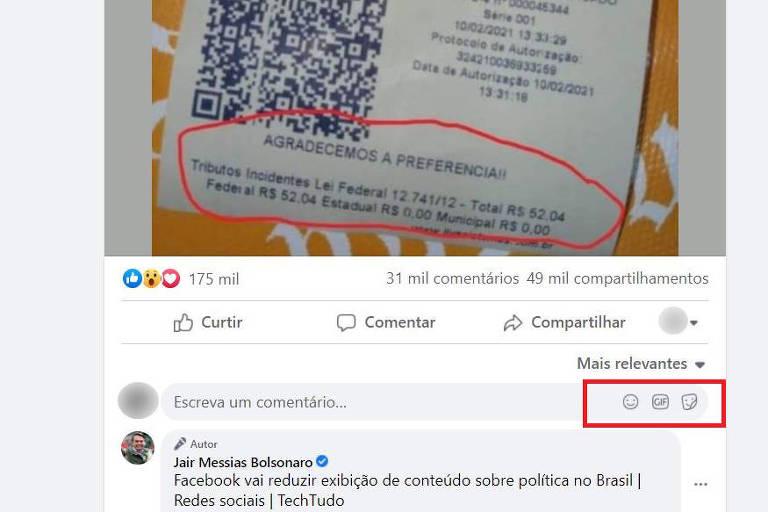 Função de fotos nos comentários no Facebook de Bolsonaro está desativada