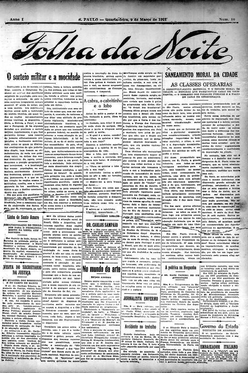 Primeira Página da Folha da Noite de 9 março de 1921