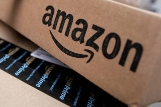 FILE PHOTO: FILE PHOTO: Amazon boxes are seen stacked for delivery in the Manhattan borough of New York City