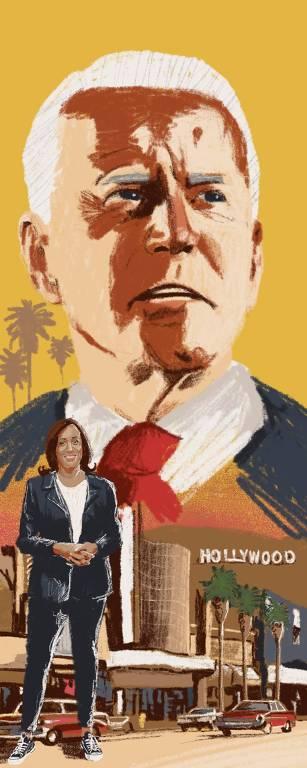 Ilustração com rosto de Joe Biden no céu e Kamala Harrus parada à frente do letreiro de Hollywood