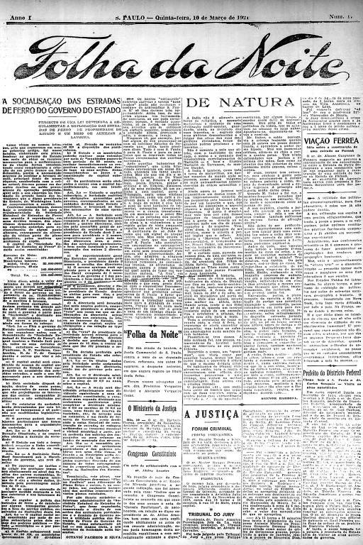 Primeira Página da Folha da Noite de 10 de março de 1921