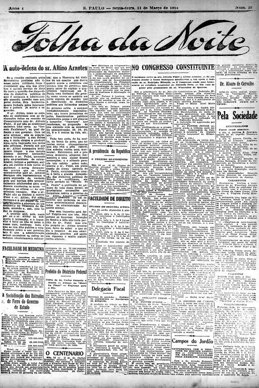 Primeira Página da Folha da Noite de 11 de março de 1921