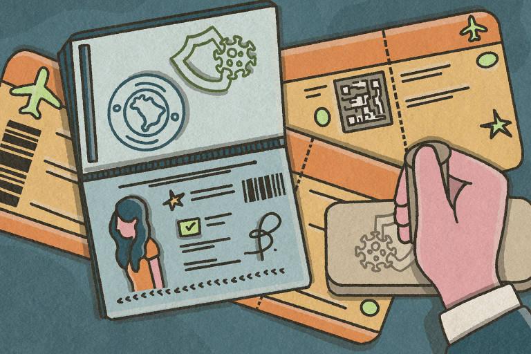 Ilustração de pessoa carimbando passaporte