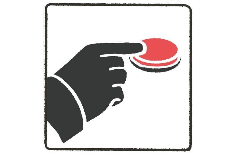 ilustração de dedo apertando enorme botão vermelho