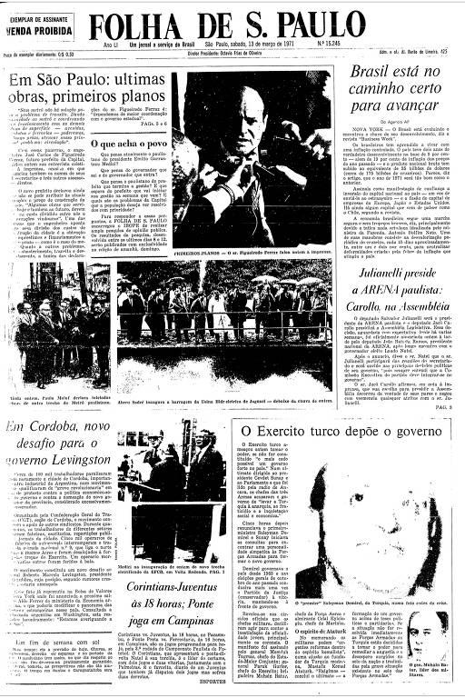 Primeira Página da Folha de 13 de março de 1971