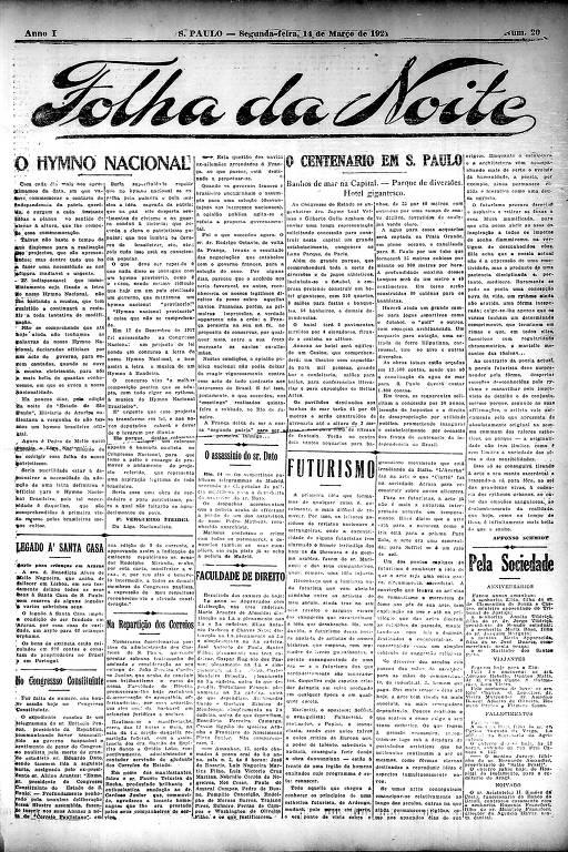 Primeira Página da Folha da Noite de 14 de março de 1921