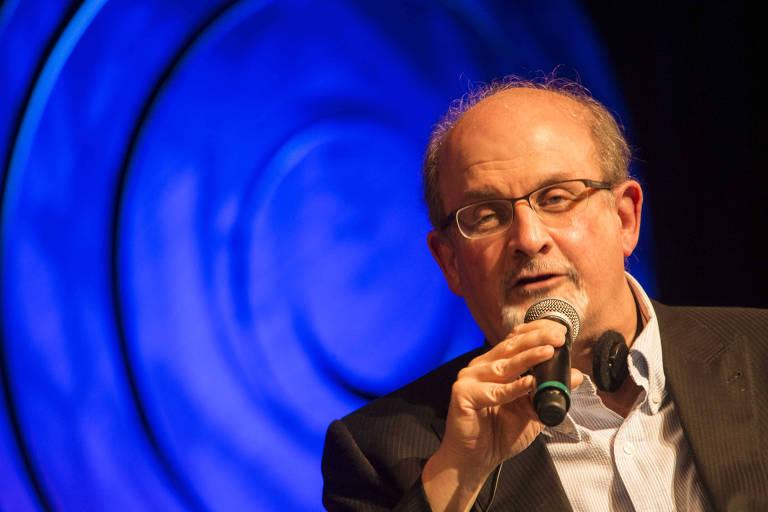 O escritor Salmon Rushdie, no seminário Fronteiras do Pensamento