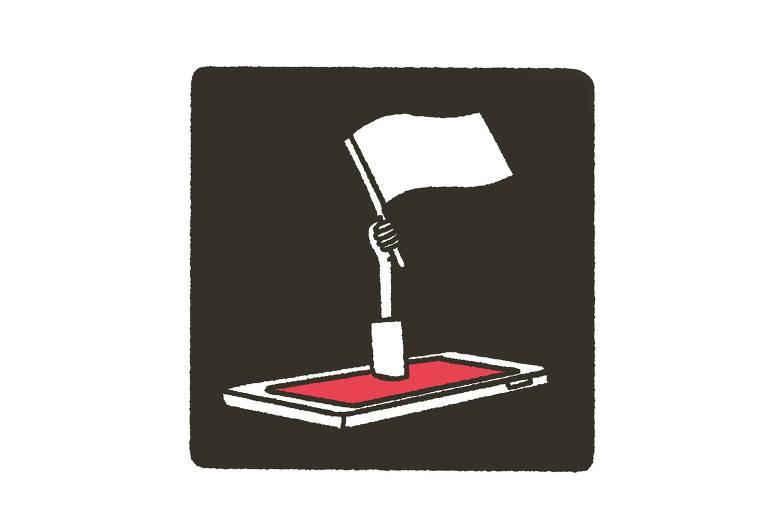 ilustração de mão saindo de tela de celular e erguendo uma bandeira branca