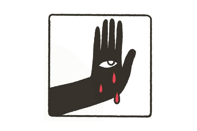 Ilustração mostra braço e mão pretos em fundo branco com um olho no meio da palma
