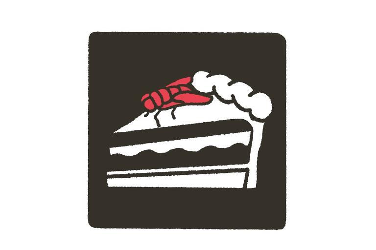 Desenho de pedaço de bolo com inseto em cima