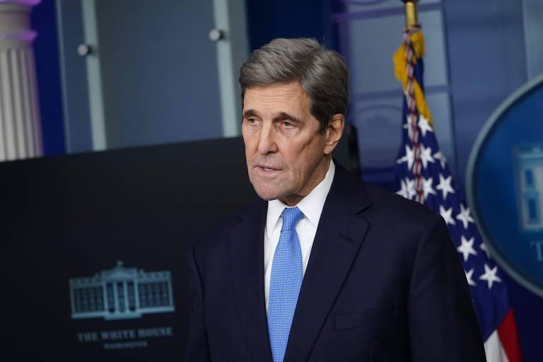 O enviado especial dos EUA para o clima, John Kerry, durante entrevista coletiva na Casa Branca
