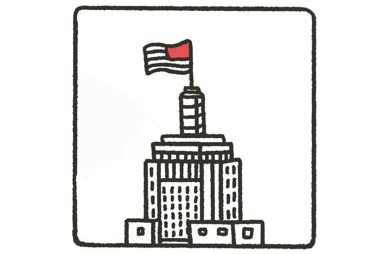 ilustração do topo do edifício bandeirantes, com a bandeira do estado de são paulo estirada em um mastro