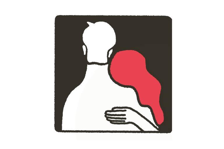 Ilustração mostra duas pessoas se abraçando