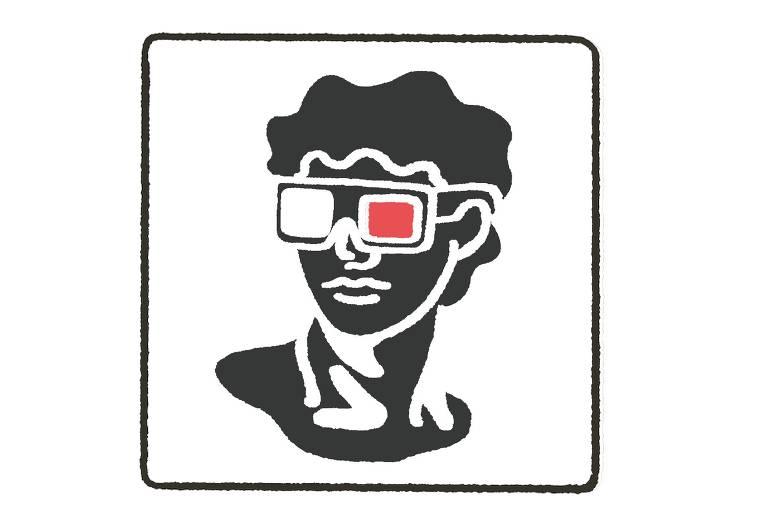 ilustração de busto neoclássico com óculos de cinema 3D