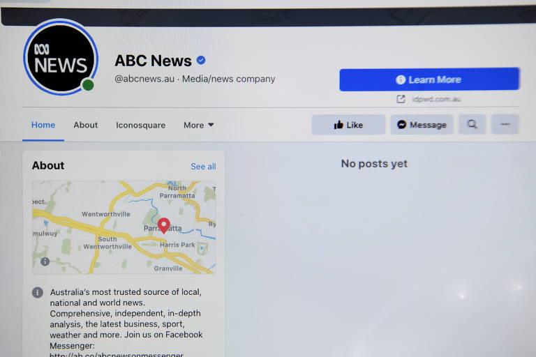 Página do Facebook, com o logo da agência de notícias no canto superior esquerdo e o aviso de não existirem postagens a ser exibidas.