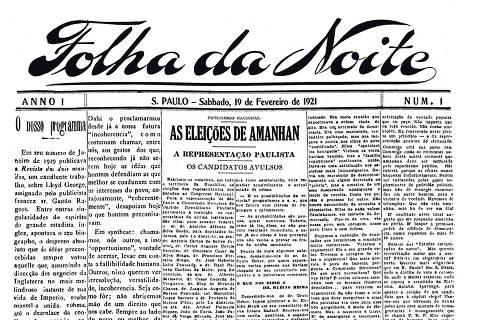 SAO PAULO, SP, BRASIL. 18-2-2021 - Primeira página da primeira edição do jornal Folha da Noite de 19 de fevereiro de 1921, atualmente conhecido como Folha de S.Paulo.  (Foto: Reprodução) ORG XMIT: AGEN2012171618236422