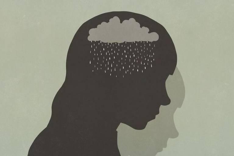 Ilustração de silhueta de uma garota; na região da cabeça, tem nuvem e chuva