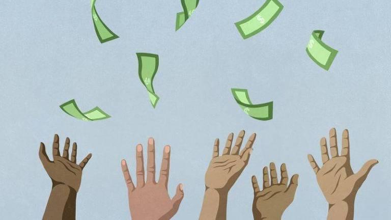 Ilustração de mãos que tentam pegar notas em uma 'chuva de dinheiro'