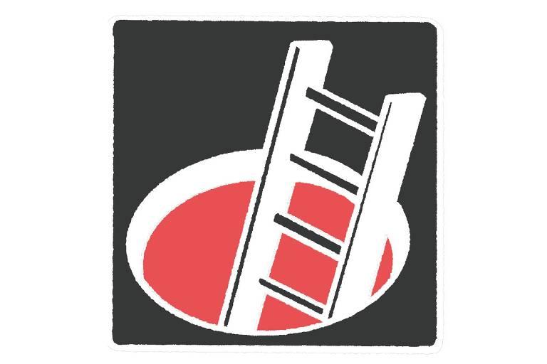 ilustração de escada enfiada em buraco no chão