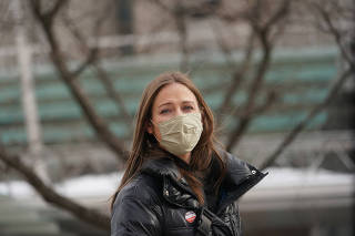 Bonnie Jacobson, 34, who said the Red Hook Tavern in Brooklyn let her go on Monday after saying that all employees were required to get a COVID-19 vaccine, in New York, Feb. 17, 2021. (Chang W. Lee/The New York Times)