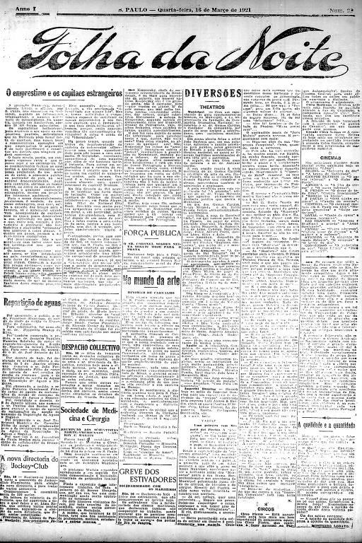 Primeira Página da Folha da Noite de 16 de março de 1921