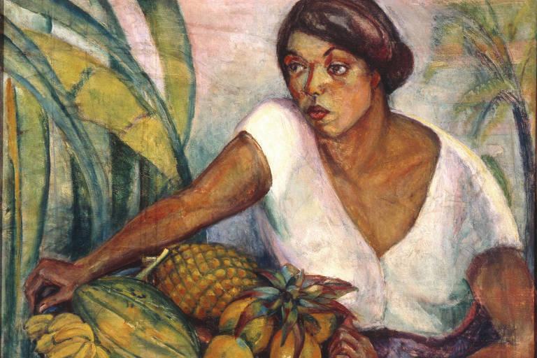 Pintura mostra mulher negra ao lado de frutas