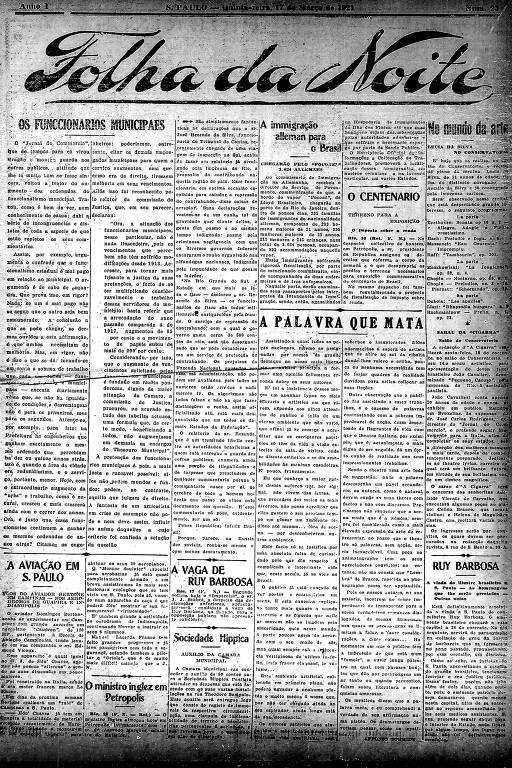 Primeira Página da Folha da Noite de 17 de março de 1921
