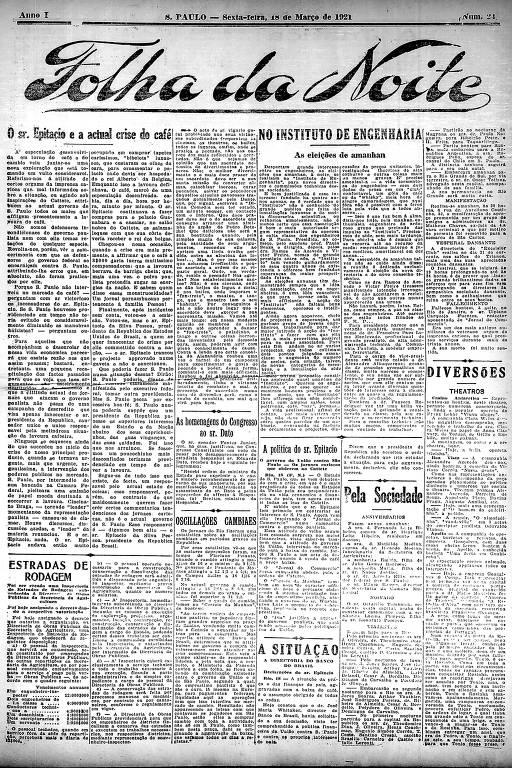 Primeira Página da Folha da Noite de 18 de março de 1921
