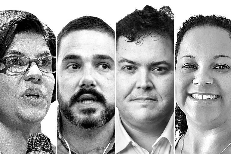 Da esquerda para a direita, participantes do debate sobre o jornalismo daqui a 100 anos: Angela Pimenta, do Projor; Murilo Garavello, do UOL; Roberto Dias, da Folha; e Cintia Gomes, da Agência Mural