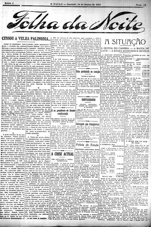 Primeira Página da Folha da Noite de 19 de março de 1921