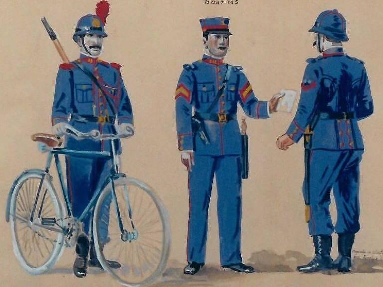 uniformes usados pela polícia em 1921