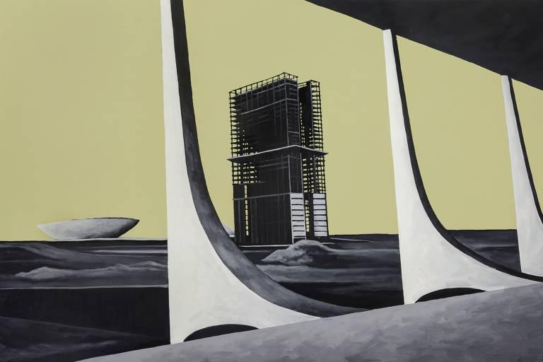 Obras do artista Evandro Prado que retratam a construção de Brasília