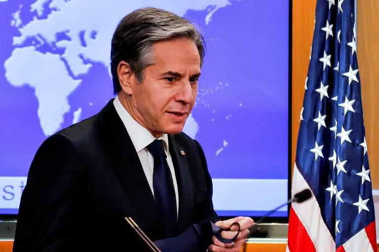O secretário de Estado dos EUA, Antony Blinken, durante entrevista coletiva, em Washington