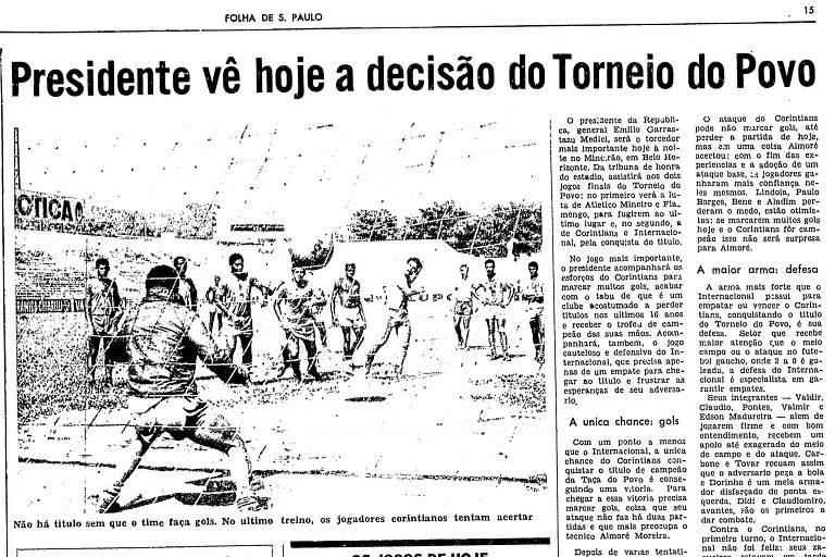Reprodução da Folha de S.Paulo de 19 de fevereiro de 1971, que abordava a final Torneio do Povo